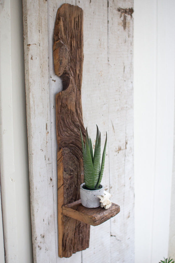 tall reclaimed wood wall shelf