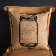 Printed Feed Sack Burlap Pillow PARK HILL COLLECTION