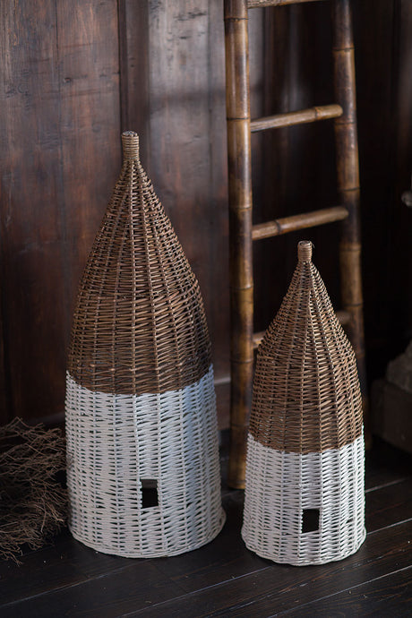 Set of Two Vintage Willow Basket Bee Skeps Dipped White