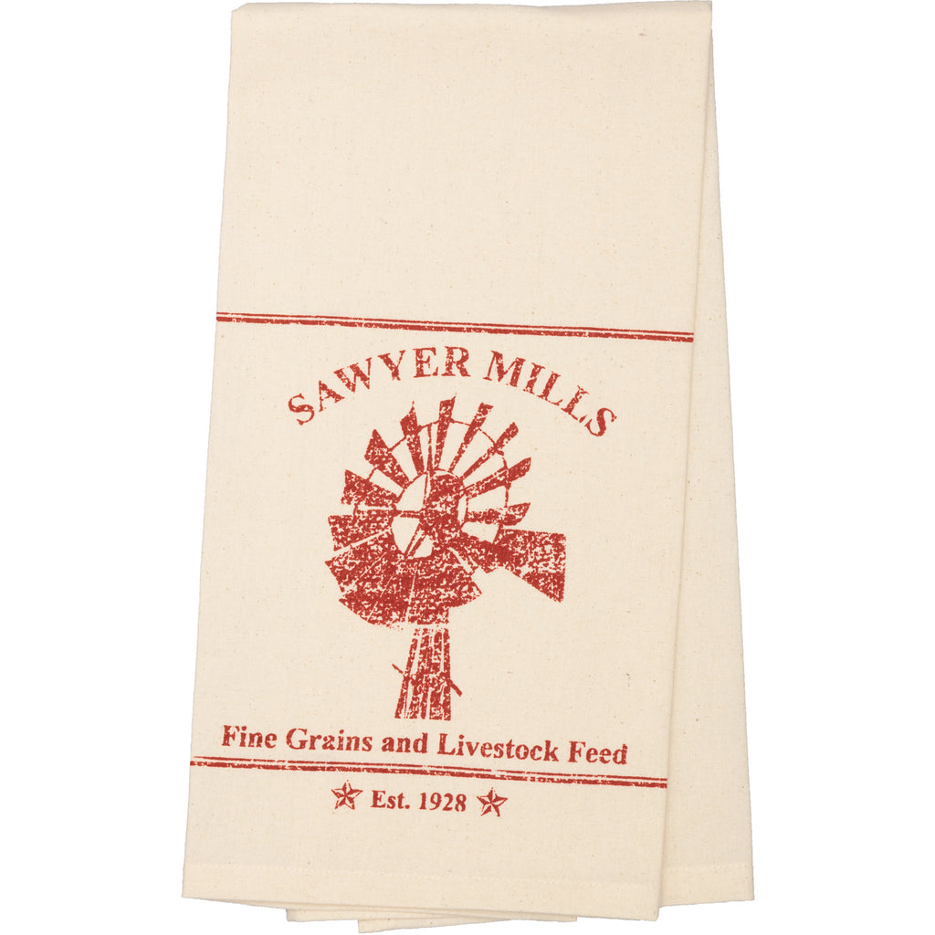 Miller Farm Red Windmill Muslin Unbleached Natural Tea Towel 19x28