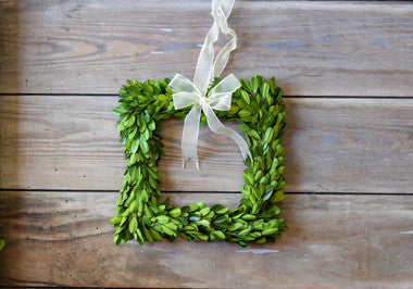Preserved Boxwood Wreath 8 inch Square with Ribbon