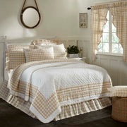 Jenna Buffalo Tan Check Luxury King Quilt 120Wx105L