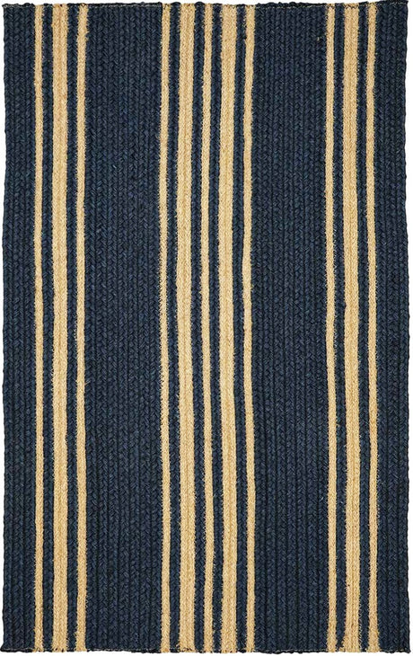 "Braided Rug Farmhouse Stripe Navy and Taupe Homespice ""Clark"""