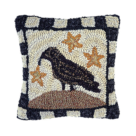 crow and star hooked wool pillow