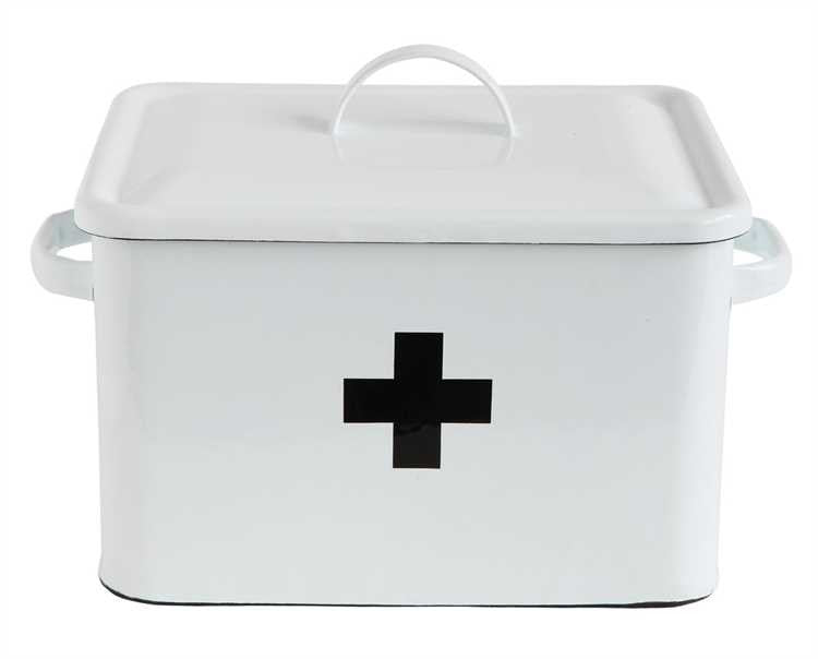 enameled metal first aid storage box white with black cross