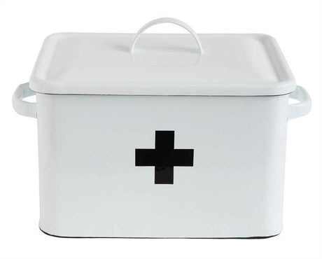 Enameled First Aid Metal Storage Box