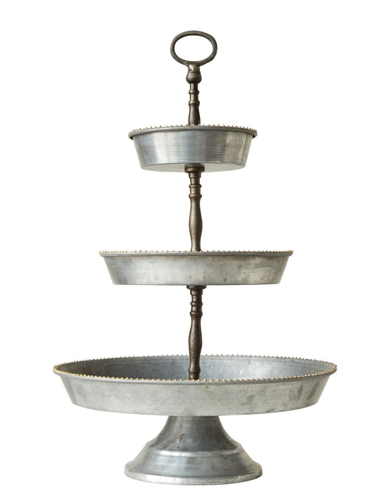 three tier galvanized tray stand