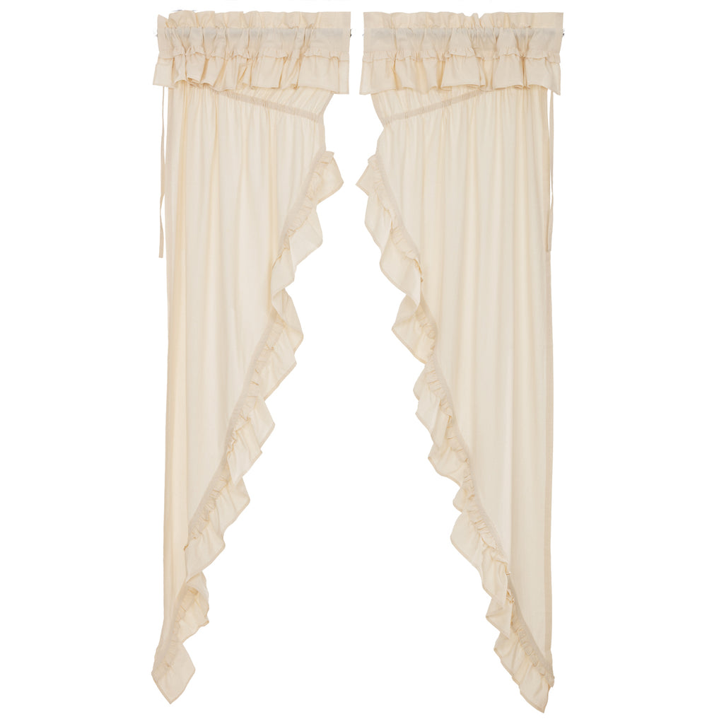 Portico Muslin Ruffled Unbleached Natural Prairie Long Panel Set of 2 84x36x18
