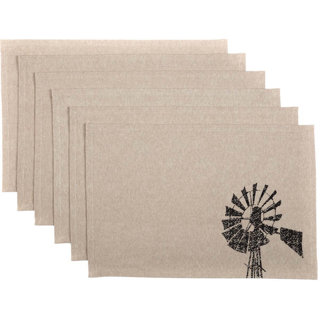 Miller Farm Charcoal Windmill Placemat Set of 6 12x18