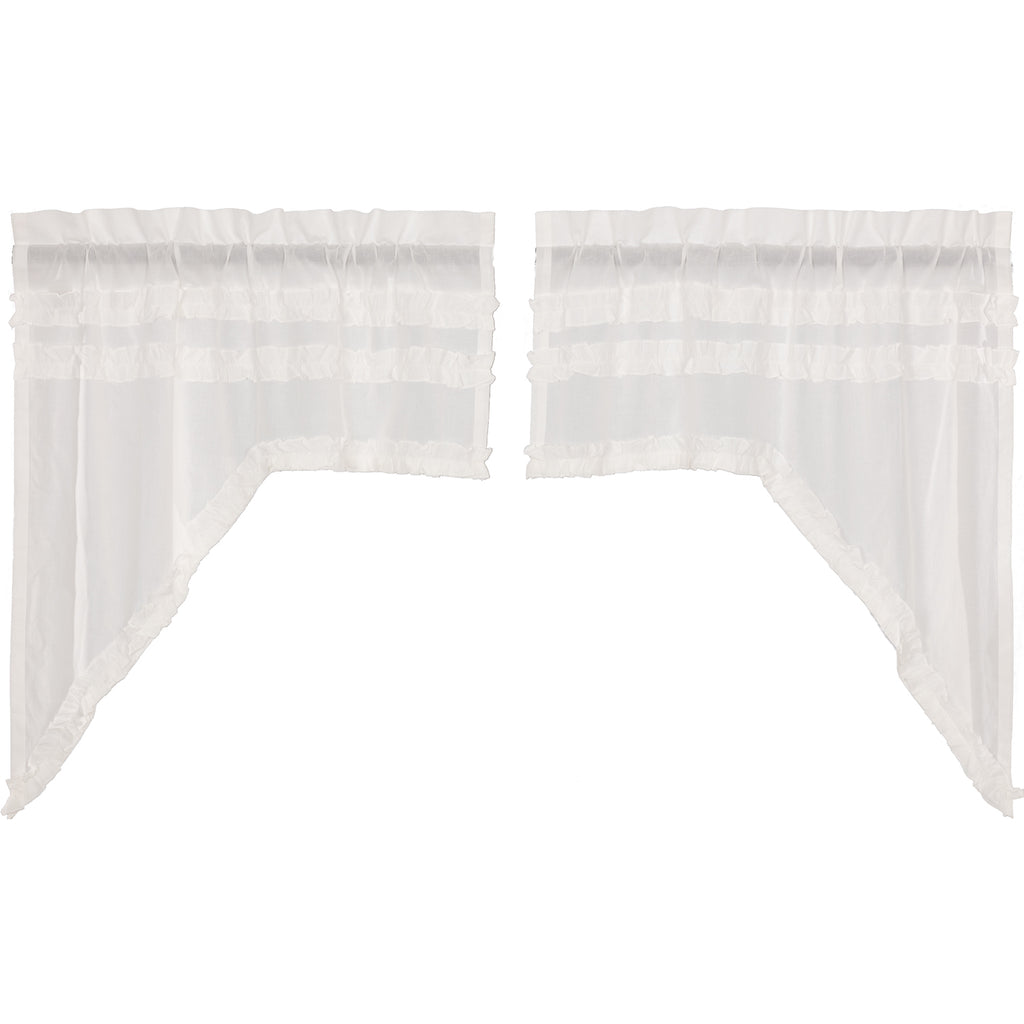 Simplicity Cambric White Ruffled Sheer Petticoat Swag Set of 2 36x36x16