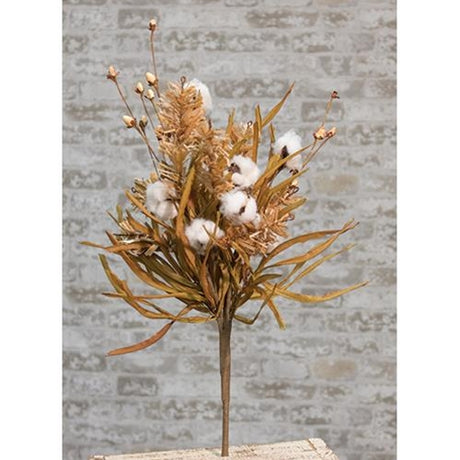 cotton and fall grass bush