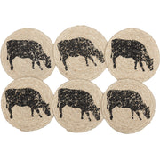 Miller Farm Charcoal Cow Jute Coaster Set of 6