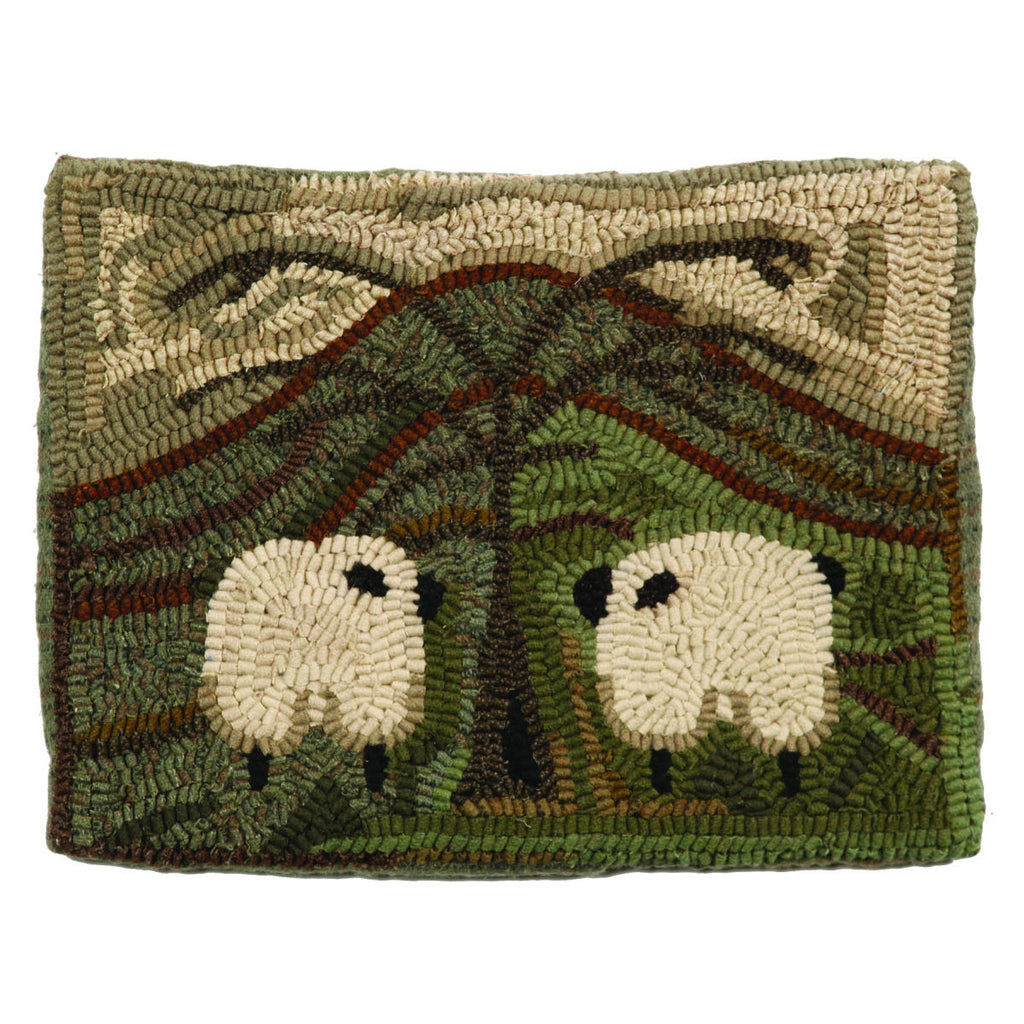 two sheep friends hooked wool pillow