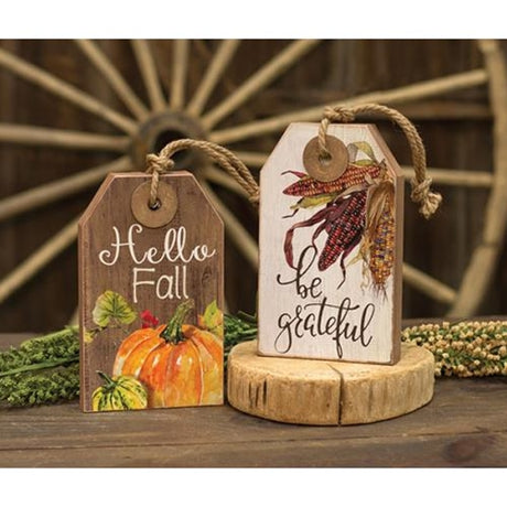 Be Grateful/Hello Fall Wooden Tag Decor Blocks