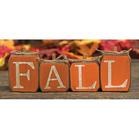 set of 4 orange blocks read FALL