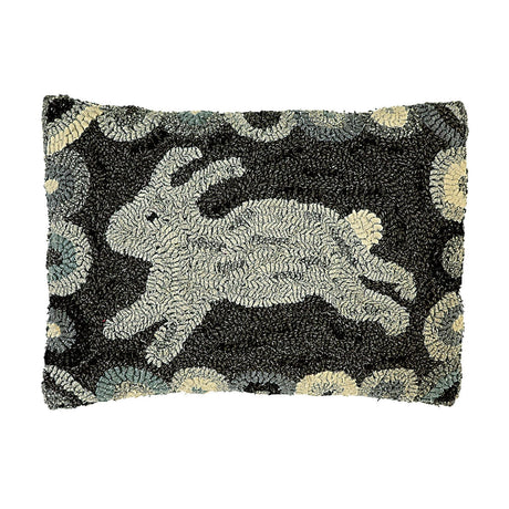 gray rabbit hooked wool pillow