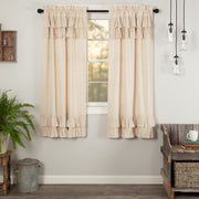 Simplicity Flax Natural Ruffled Short Panel Set of 2 63x36