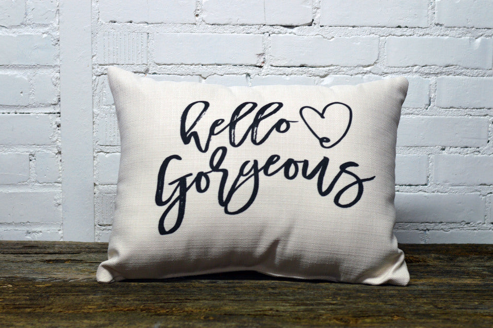 HELLO GORGEOUS rectangle Linen Farmhouse Throw Pillow