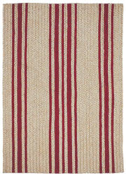 "Braided Rug Farmhouse Stripe Natural and Red  Homespice ""Baker"""
