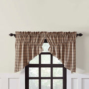 Miller Farm Charcoal Plaid Prairie Swag Curtain Set of 2 36x36x18