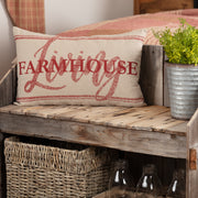 Miller Farm Red Farmhouse Living Pillow 14x22