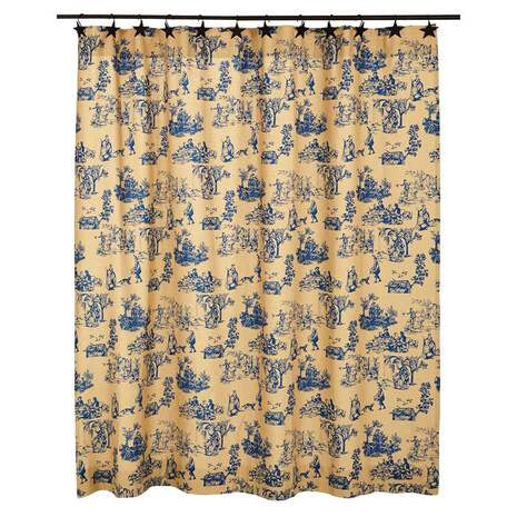 Blue and Linen Toile Shower Curtain