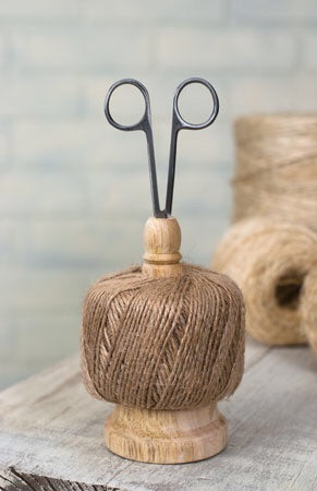 Wooden Twine Spool and Scissors