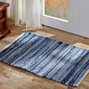 Natural Hemp and Blue Denim Chindi/Rag Rug Rect 36x60