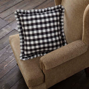 Jenna Buffalo Black Check Ruffled Fabric Pillow 18x18