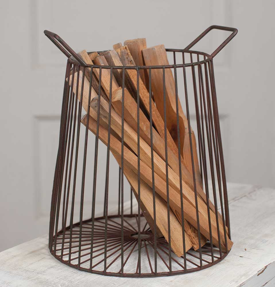 tapered metal farmhouse kindling basket