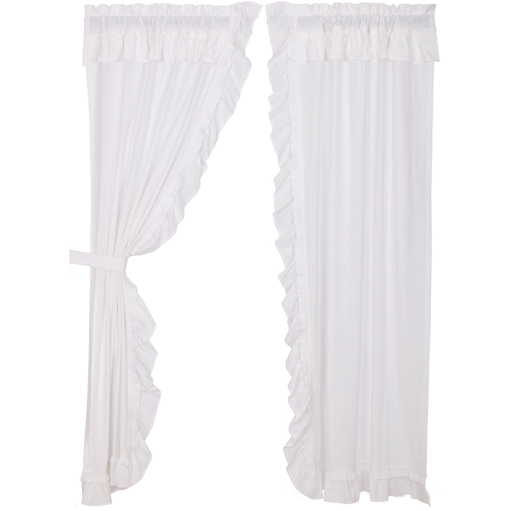 Portico Muslin Ruffled Bleached White Panel Set of 2 84x40