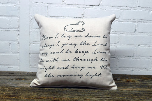 NOW I LAY ME square Linen Farmhouse Throw Pillow
