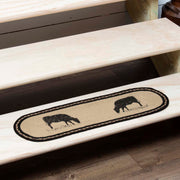 Miller Farm Charcoal Cow Jute Stair Tread Oval Latex 8.5x27