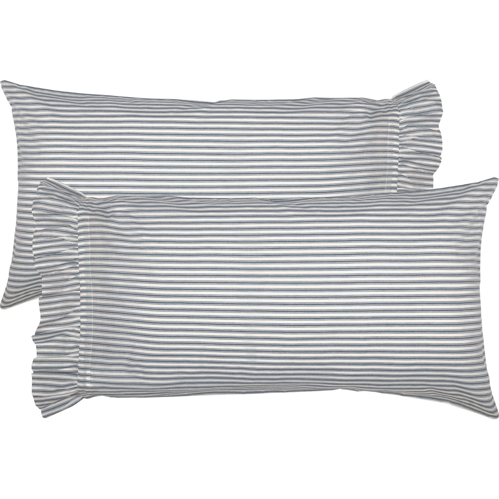 Miller Farm Blue Ticking Stripe King Pillow Case Set of 2 21x40