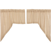 Veranda Burlap Creme Swag Set of 2 36x36x16