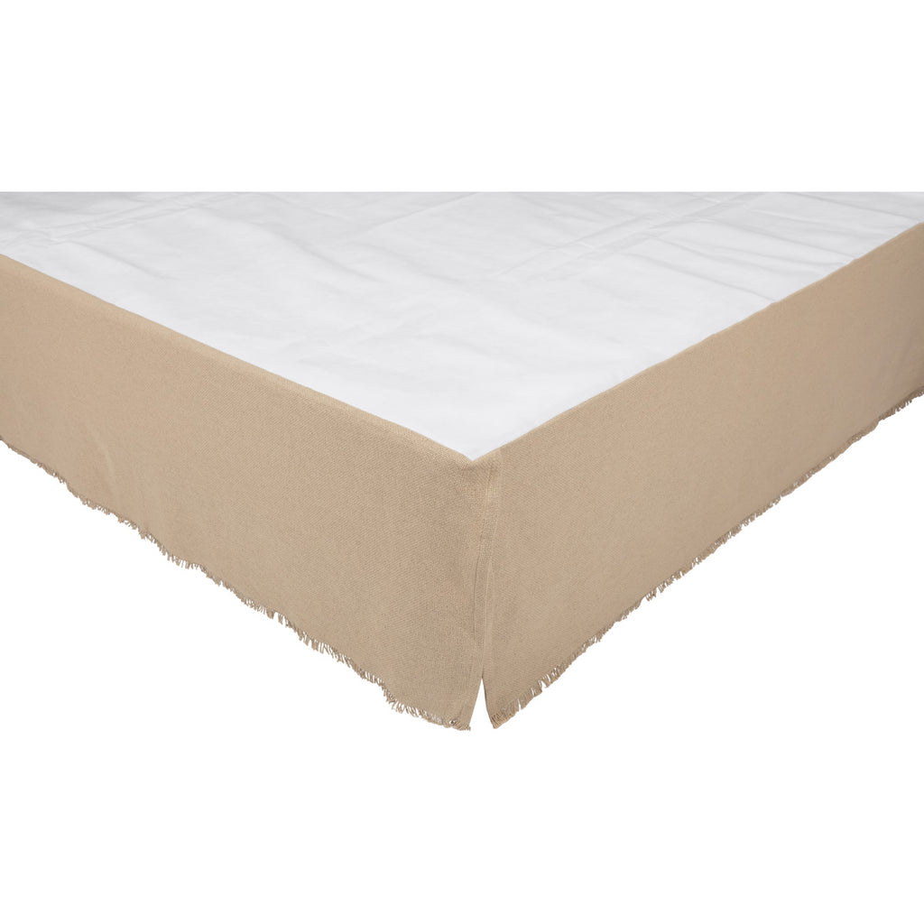 Veranda Burlap Creme Fringed Twin Bed Skirt 39x76x16
