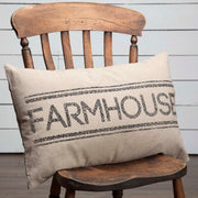 Miller Farm Charcoal Farmhouse Pillow 14x22