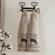 Miller Farm Charcoal Cow Button Loop Kitchen Towel Set of 2