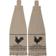 Miller Farm Charcoal Poultry Button Loop Kitchen Towel Set of 2