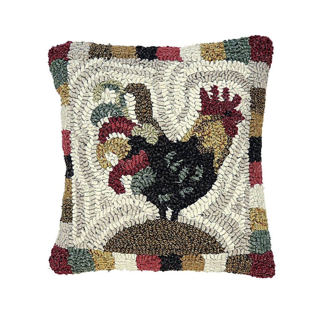 rooster red hooked wool pillow