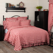 Jenna Buffalo Red Check Ruffled Twin Quilt Coverlet 68Wx86L