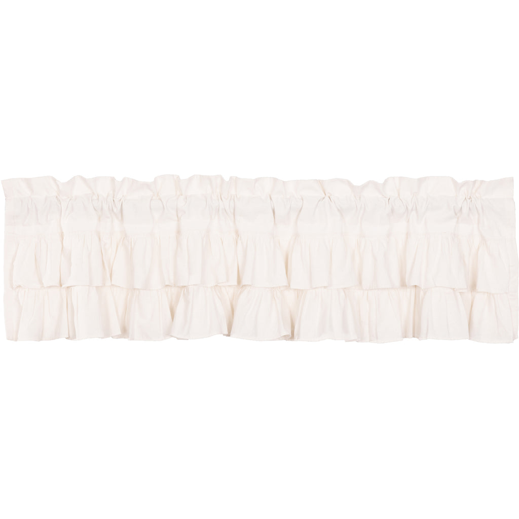 Simplicity Flax Antique White Ruffled Valance 16x72