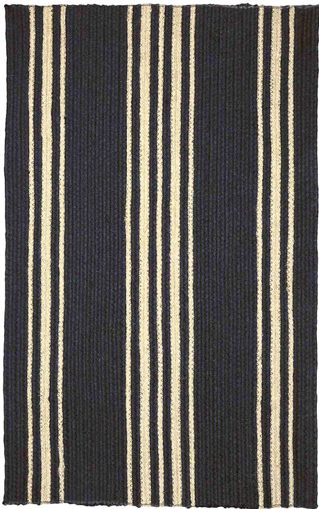 "Braided Rug Farmhouse Stripe Black and Cream Homespice ""Smith"""