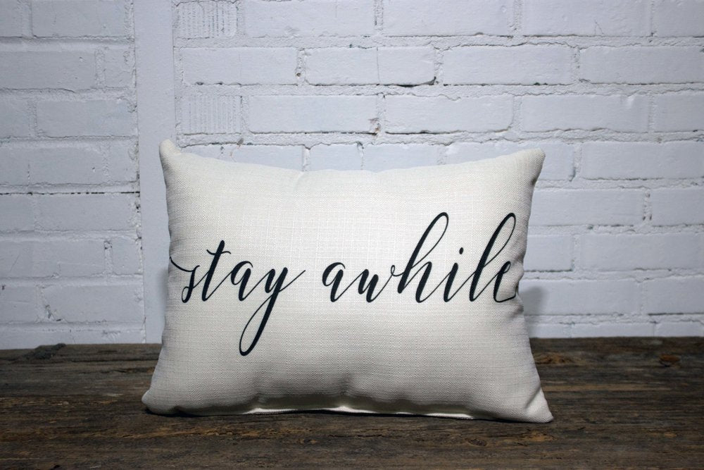 Stay Awhile Rectangle Linen Farmhouse Throw Pillow