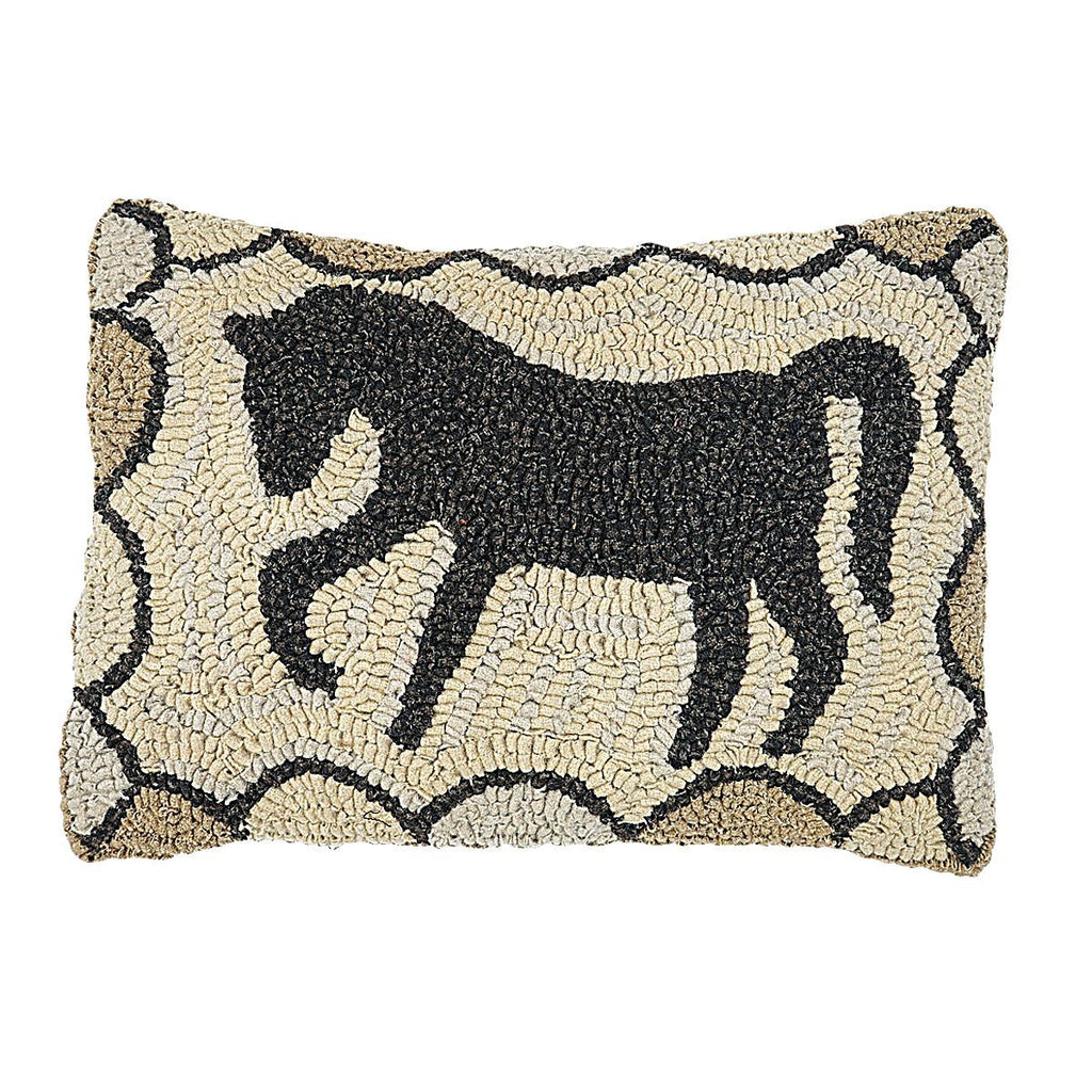 stormy horse homespice hooked wool pillow