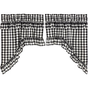 Jenna Buffalo Black Check Ruffled Swag Set of 2 36x36x16