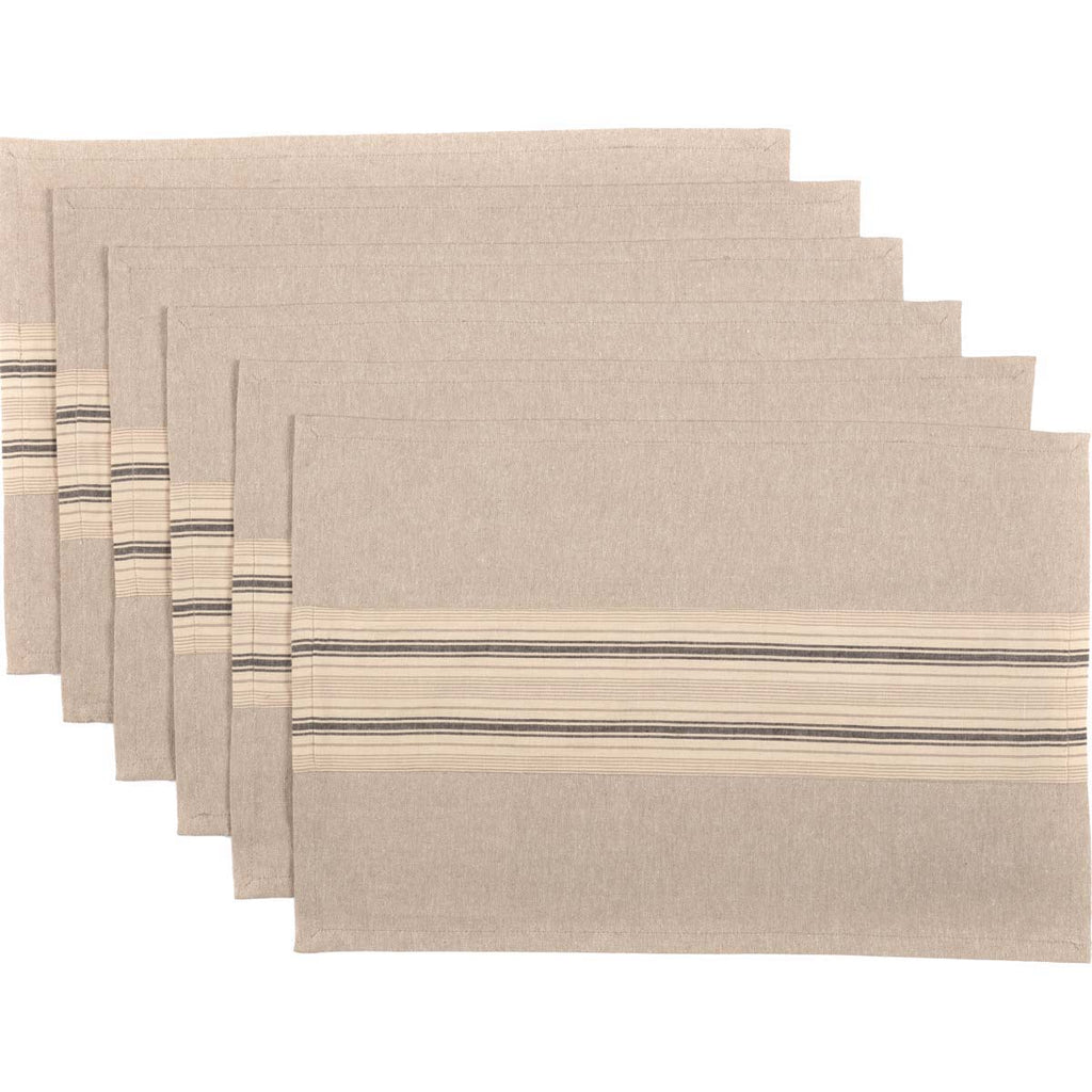 Miller Farm Charcoal Placemat Set of 6 12x18