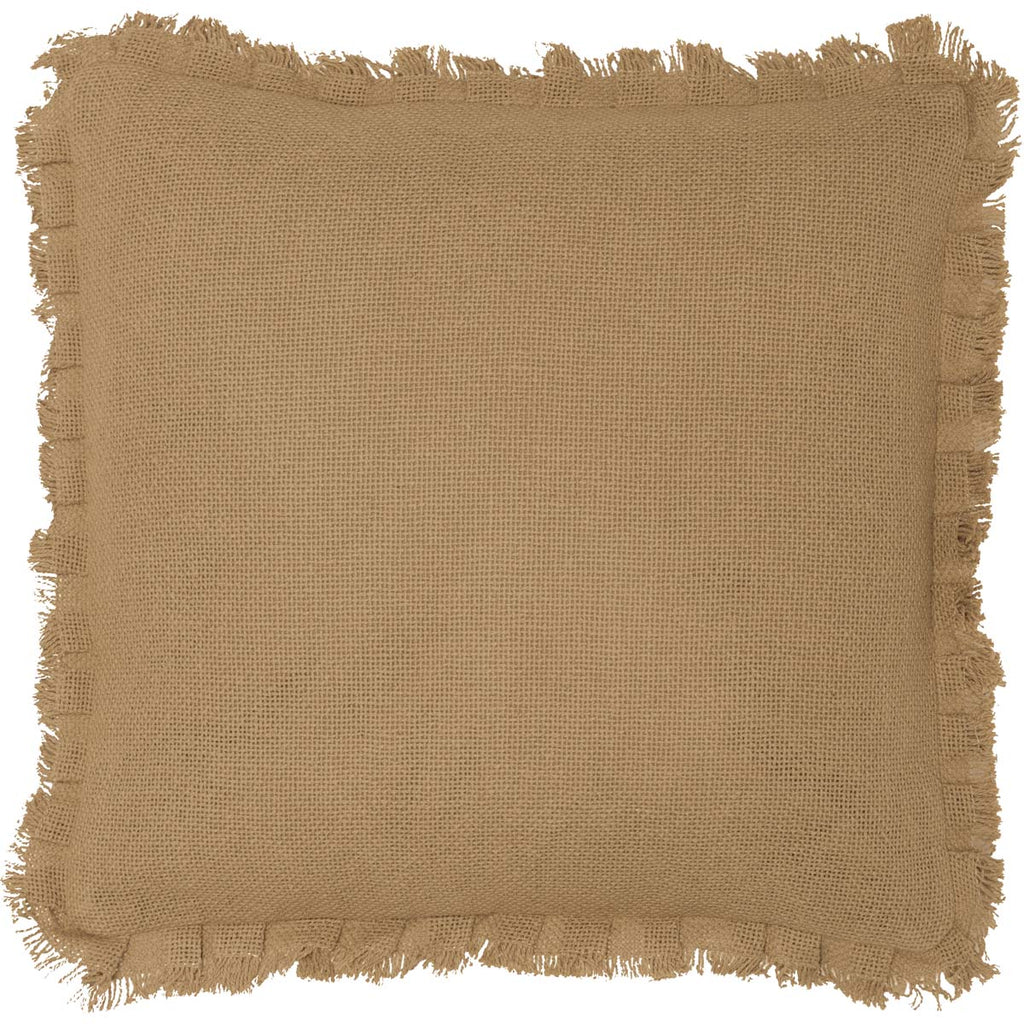 Veranda Burlap Tan Pillow w/ Fringed Ruffle 16x16