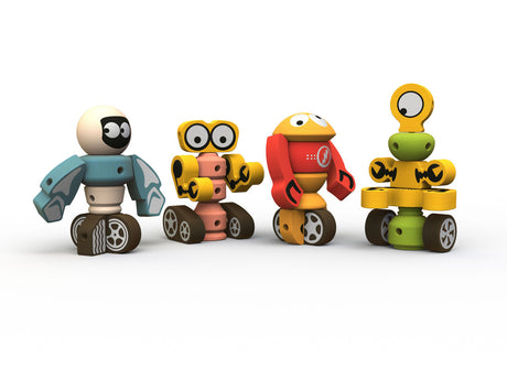 brightly colored rubberwood robots for children to construct