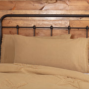 Veranda Burlap Tan King Pillow Case w/ Fringed Ruffle Set of 2 21x40